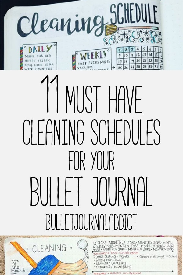 Bullet Journal Cleaning Schedule and Tracker Lists - Bullet Journal Cleaning Spreads and Layouts for Cleaing Routine - 11 Must Have Cleaning Schedules For Your Bullet Journal