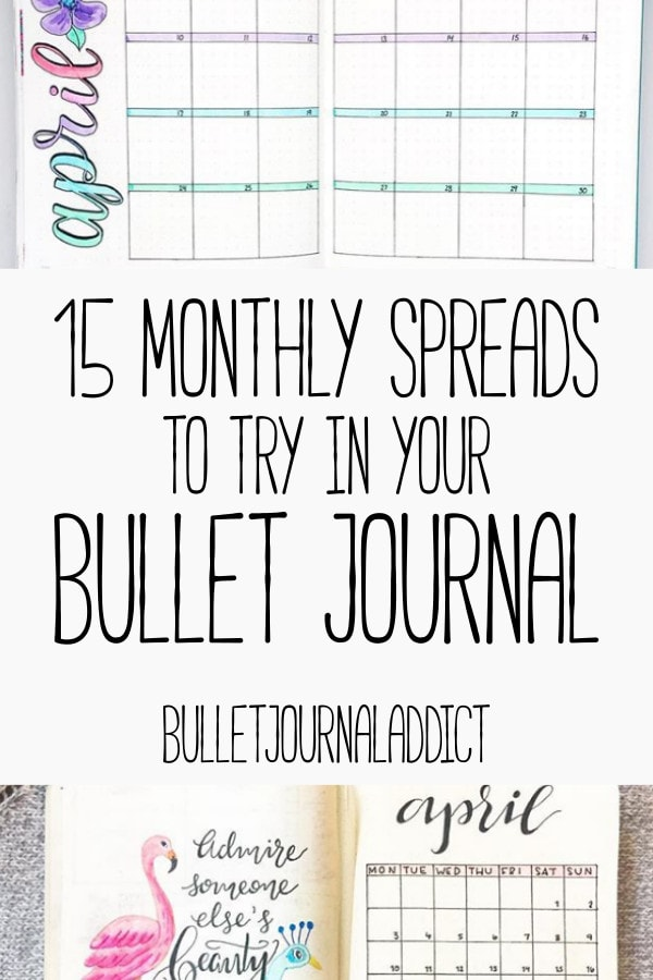 Bullet Journal Monthly Spreads - Monthly Layouts for Bulet Journals - 15 Monthly Spreads To Try In Your Bullet Journal - Monthly Bullet Journal Layout