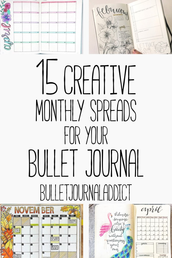 Bullet Journal Monthly Spreads - Monthly Layouts for your Bullet Journal - 15 Creative Monthly Spreads for your Bullet Journal