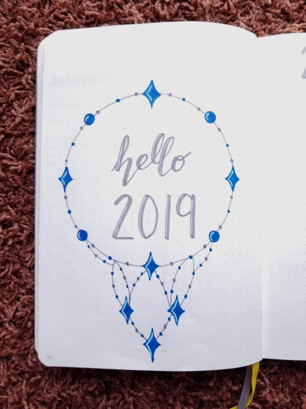 Bullet Journal New Year Cover Page