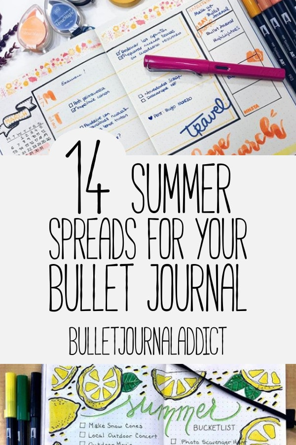 Bullet Journal Spreads - 14 Summer Spreads for Your Bullet Journal - Habit Trackers, Weekly Spreads, Summer Goals for Bullet Journal
