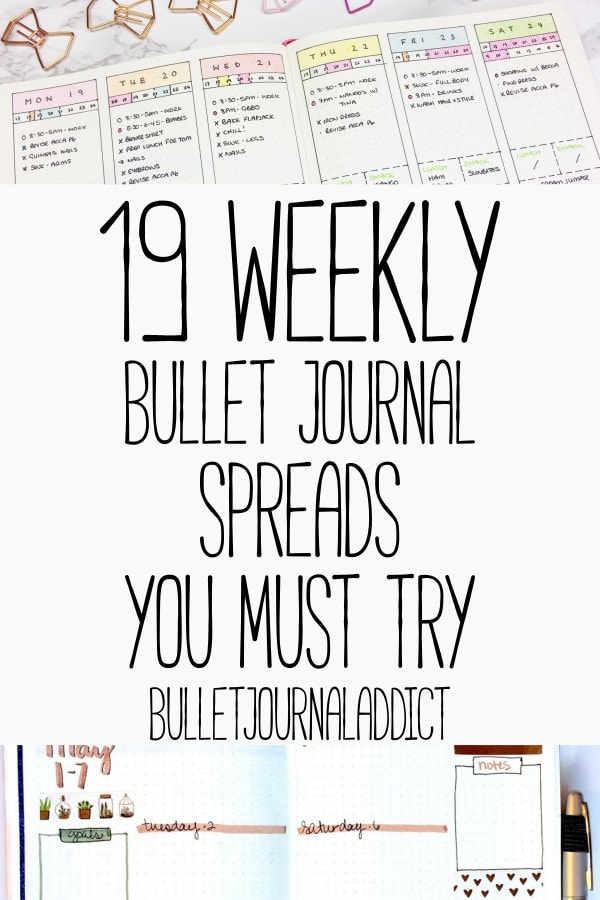 Bullet Journal Weekly Spreads - Weekly Layouts for Bullet Journals - 19 Weekly Bullet Journal Spreads You Must Try