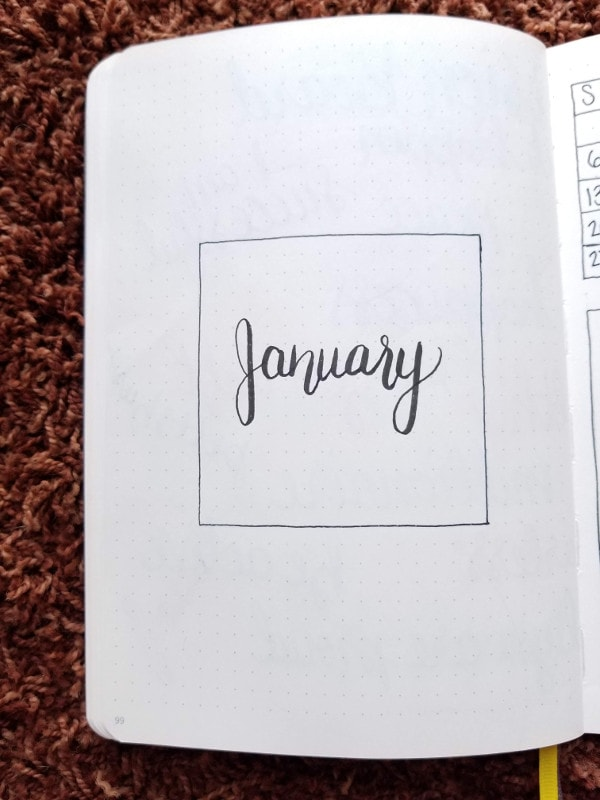 Minimalist Bullet Journal Set Up - January Cover Page