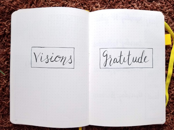 Minimalist Bullet Journal Set Up - Visions and Gratitude Pages