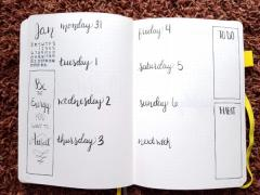 Minimalist Bullet Journal Set Up - Weekly Spread 1