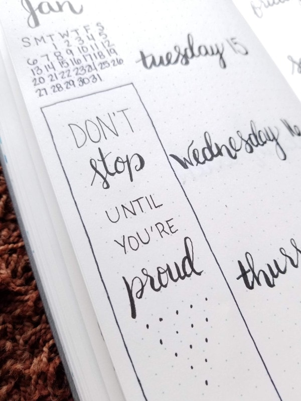 Minimalist Bullet Journal Set Up - Weekly Spread 3 Quote