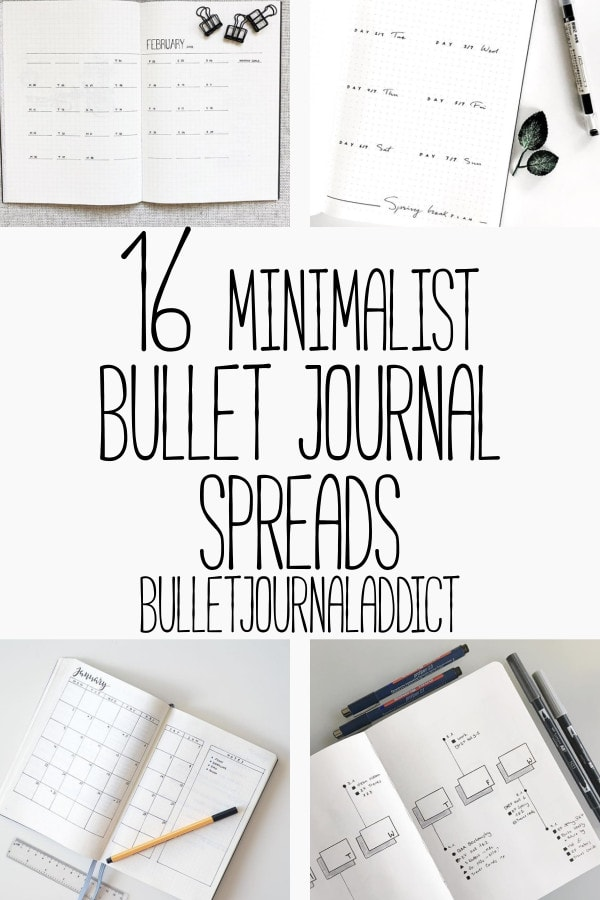 Minimalist Bullet Journal Spreads - Minimalist Bullet Journal Layouts - Monthly and Weekly Spreads - 16 Minimalist Bullet Journal Spreads