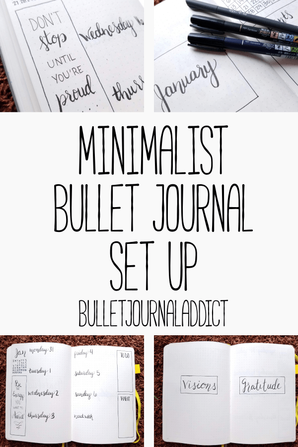 Minimalist Bullet Journal Spreads - Minimalist Monthly Bullet Journal Layouts - Minimalist Bullet Journal Set Up - January 2019