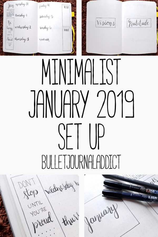 Minimalist Bullet Journal Spreads - Minimalist Monthly Bullet Journal Layouts - Minimalist January 2019 Set Up