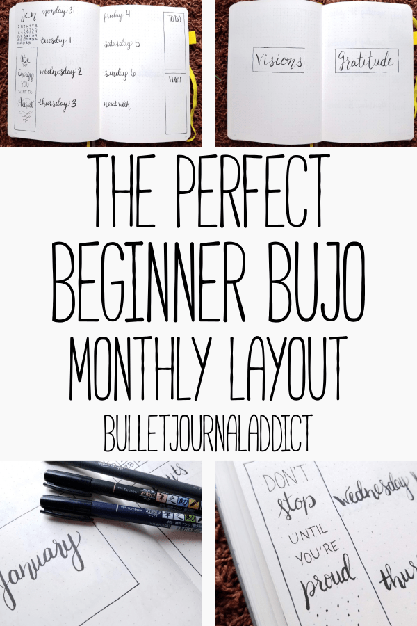 Minimalist Bullet Journal Spreads - Minimalist Monthly Bullet Journal Layouts - The Perfect Beginner Bujo Monthly Layout