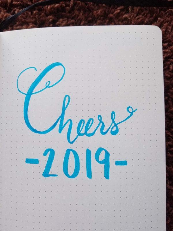 New Year Bullet Journal Cover Page - Cheers