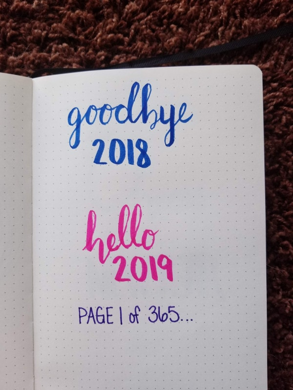 New Year Bullet Journal Cover Page - New Book