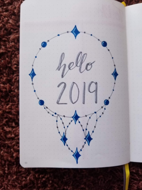 New Year Bullet Journal Cover Page - Sapphire