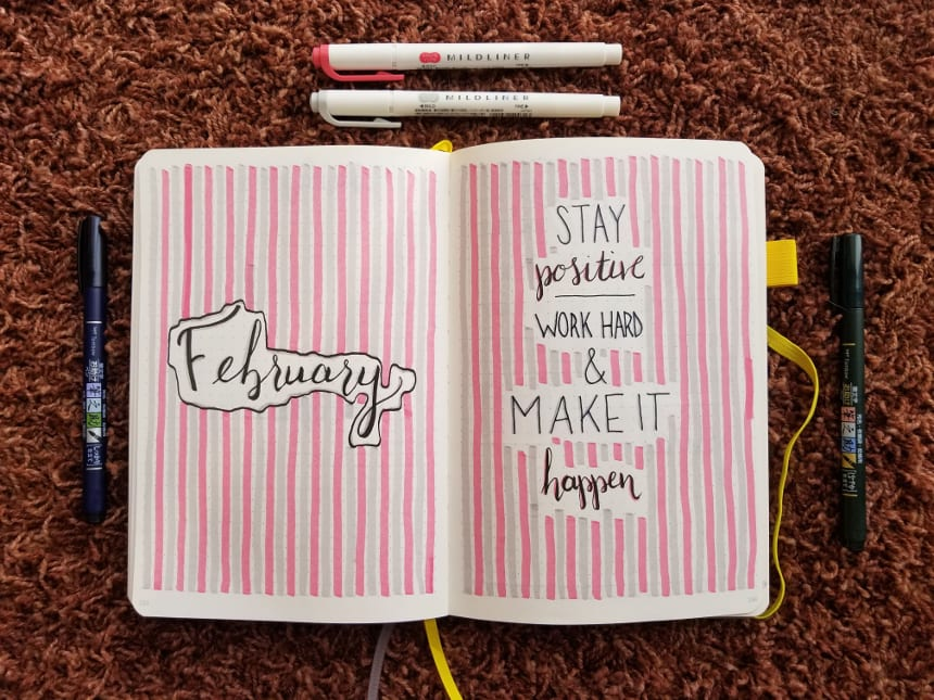 Bullet Journal Setup February 2019 - Cover Page and Quote Page