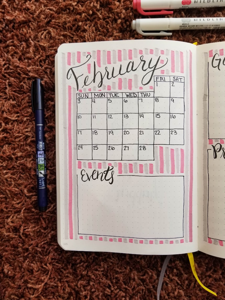Bullet Journal Setup February 2019 - Monthly Layout