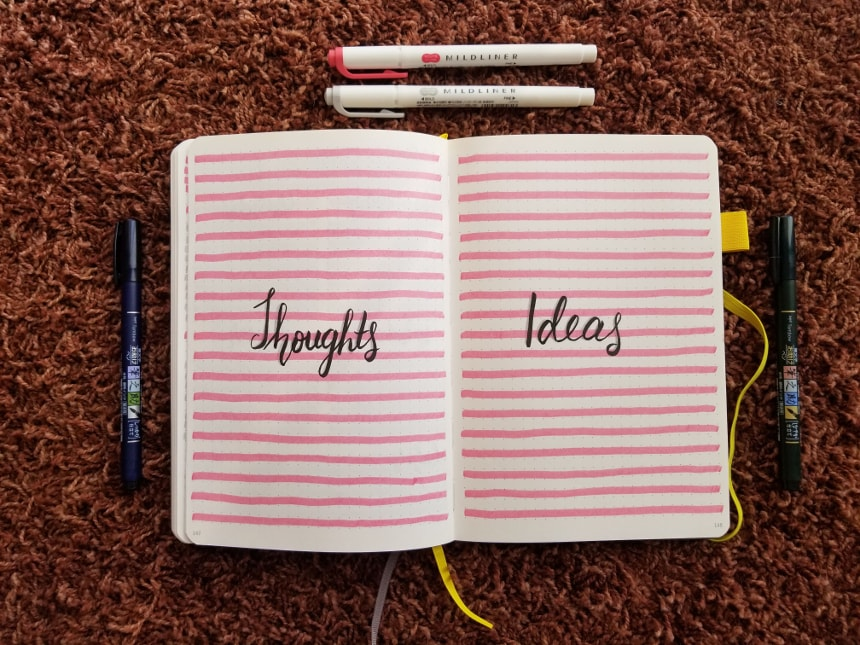 Bullet Journal Setup February 2019 - Thoughts and Ideas Pages