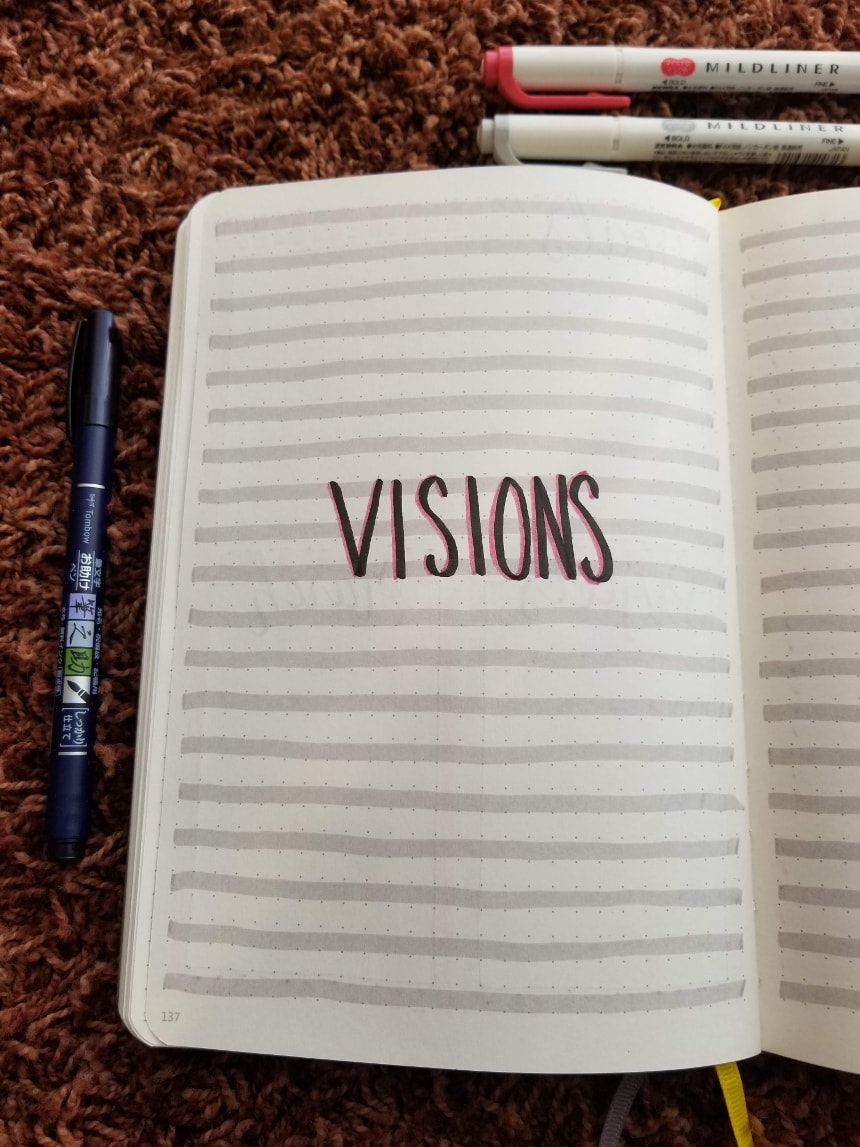 Bullet Journal Setup February 2019 - Visions Page