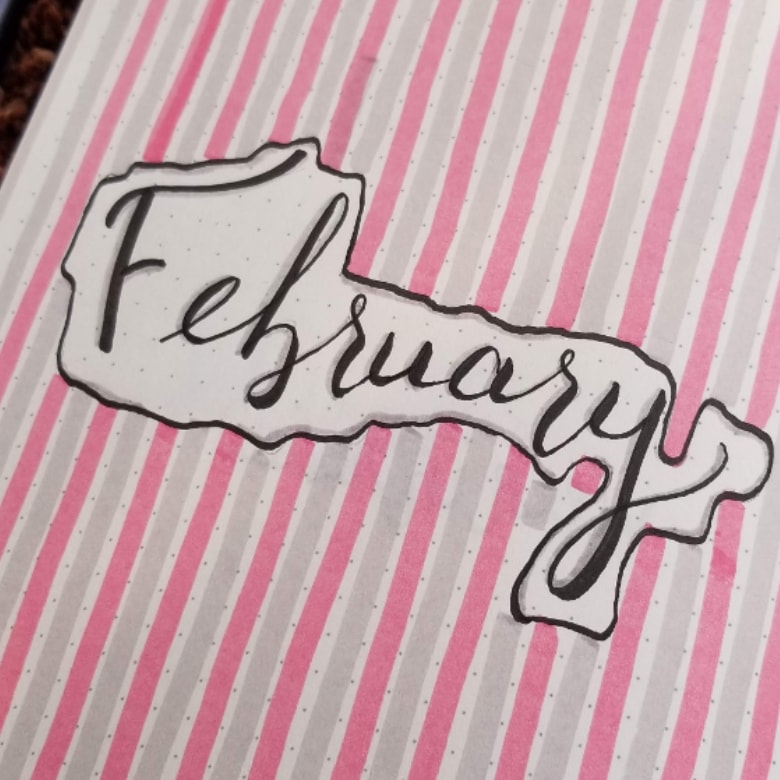 February 2019 Pink and Grey Setup - Bullet Journal Layout in Pink and Grey Stripes