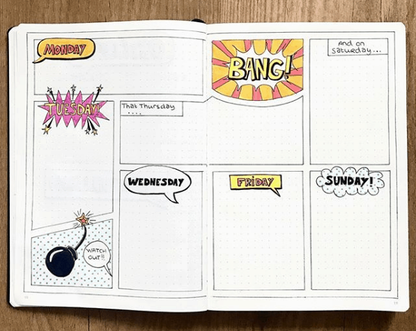 Weekly Spreads for Bullet Journals - Comic Book Spread