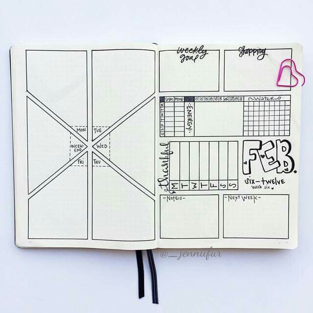 Weekly Spreads for Bullet Journals - Geometric Spread