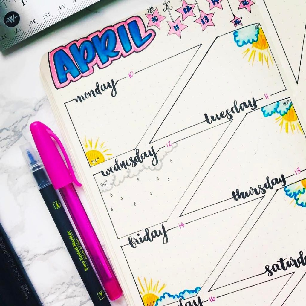 Weekly Spreads for Bullet Journals - Keep Track of the Weather