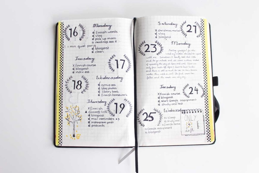 Weekly Spreads for Bullet Journals - No Border Spread
