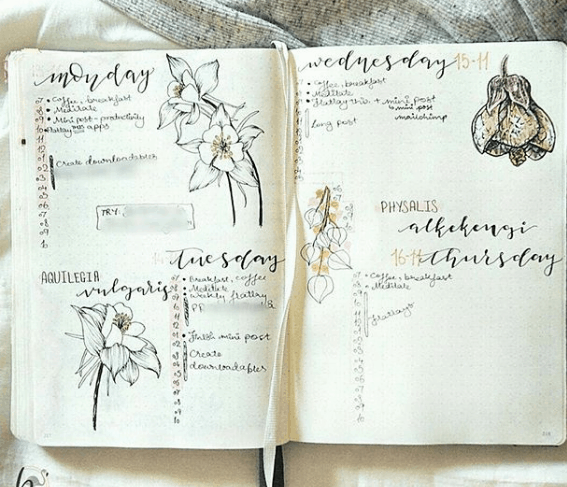 Weekly Spreads for Bullet Journals - Simple Floral Spread