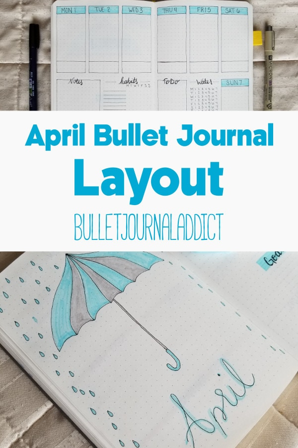Bullet Journal Layout and Spread for April 2019 - Monthly and Weekly Spread with Habit Tracker - April Bullet Journal Layout
