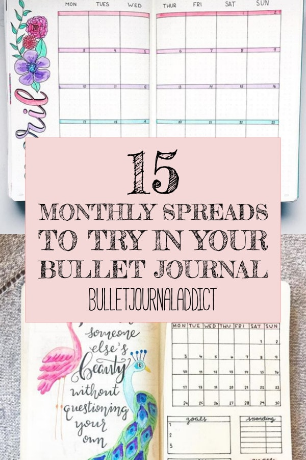 15 Monthly Spreads To Try In Your Bullet Journal text over two monthly bullet journal spreads