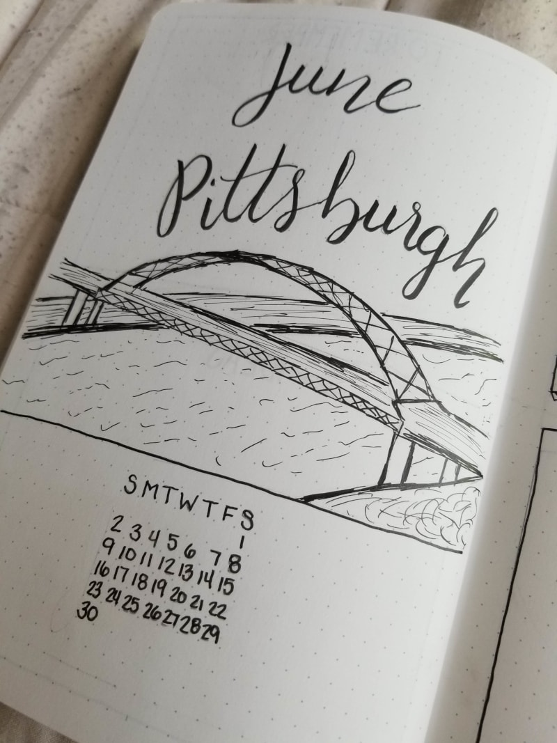 Bullet Journal - Fort Pitt Bridge Sketch in Pittsburgh