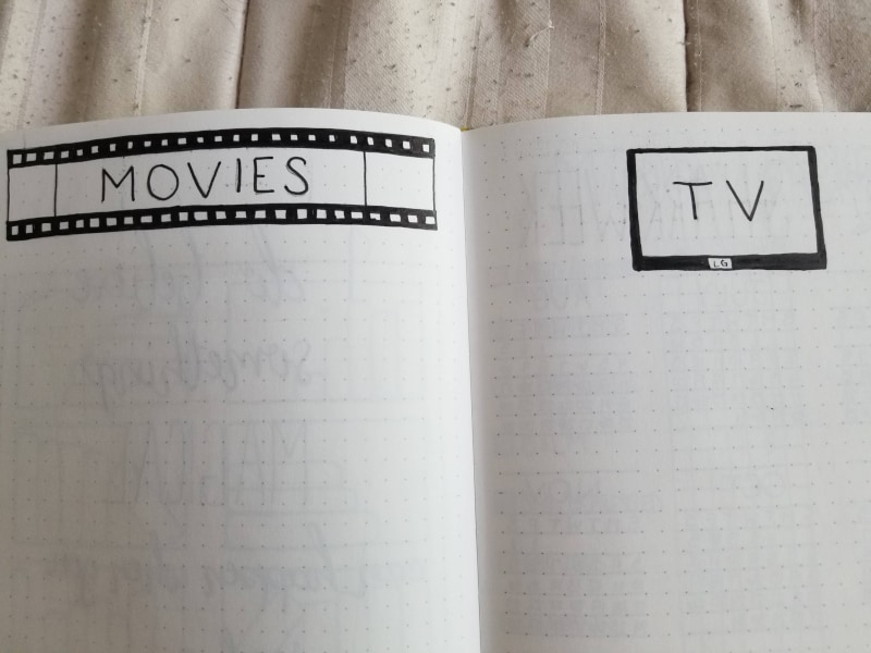 Bullet Journal Movies and TV Collections