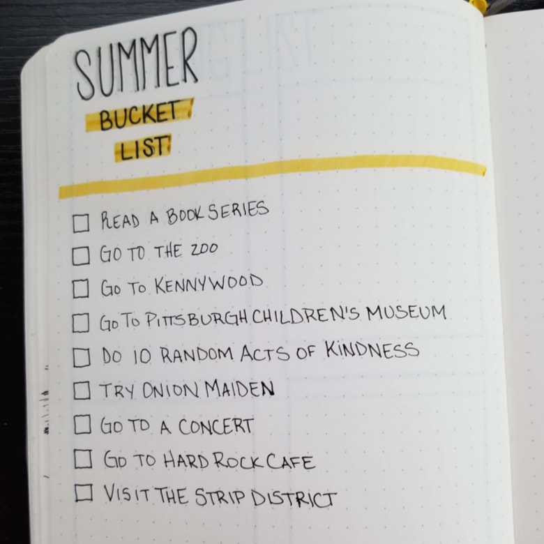 Bullet Journal Summer Bucket List Ideas
