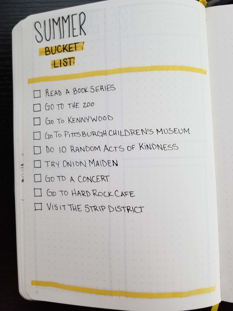 Bullet Journal Addict 22 Summer Bucket List Ideas For Your Bullet Journal