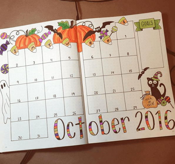 Monthly Bullet Journal Spreads - Artful Monthly Spread