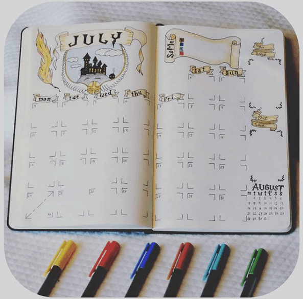 Monthly Bullet Journal Spreads - Harry Potter Inspired Spread