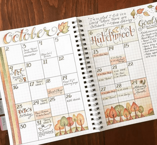 Monthly Bullet Journal Spreads - Large Monthly Spread