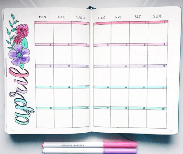 Monthly Bullet Journal Spreads - Pastel Monthly Spread