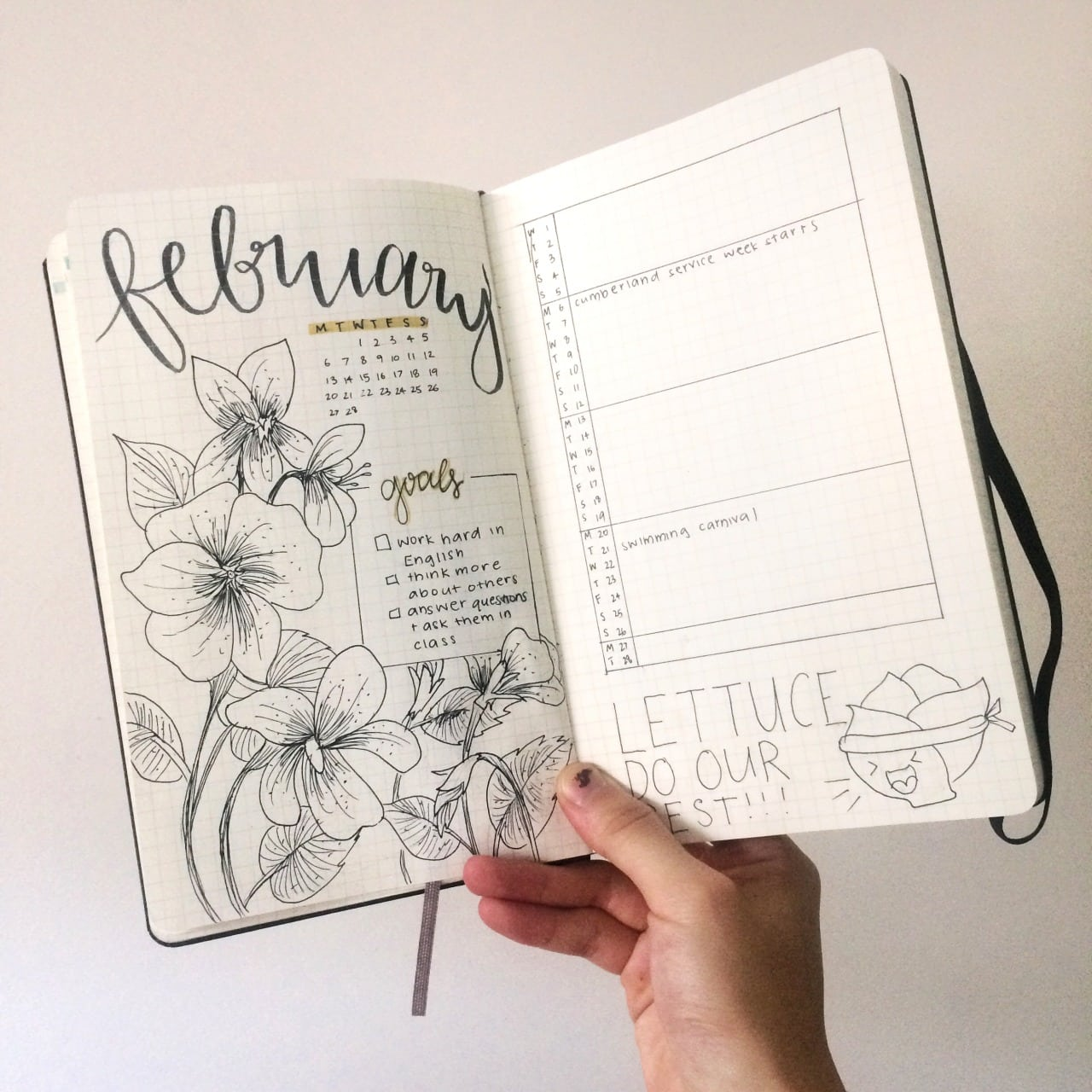 Monthly Bullet Journal Spreads - Two Page Artful Minimalist