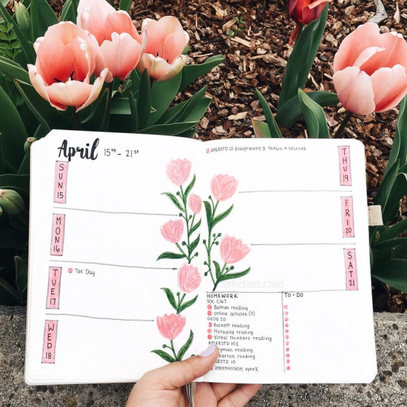 Pink Floral Weekly Spread