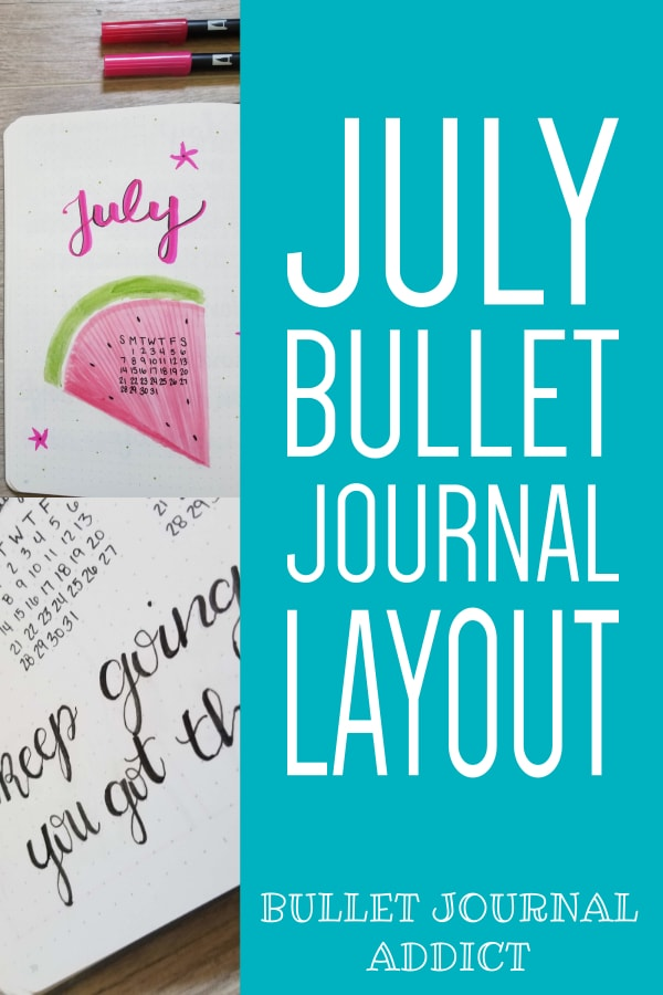 July Bullet Journal Layout