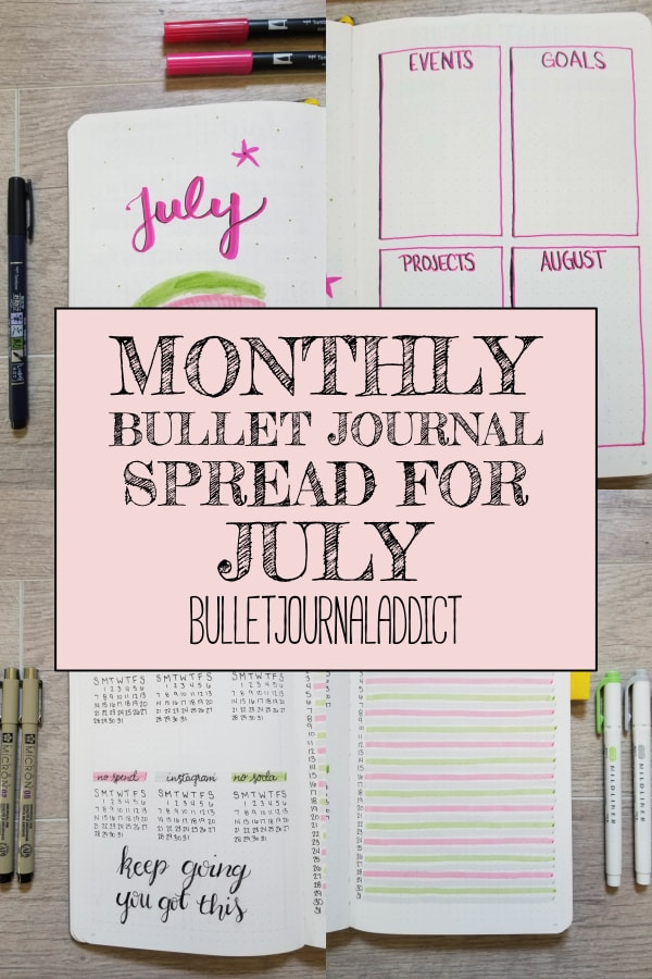 Monthly Bullet Journal Spread For July