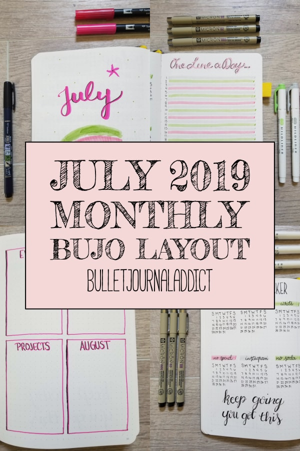 July 2019 Monthly Bujo Layout