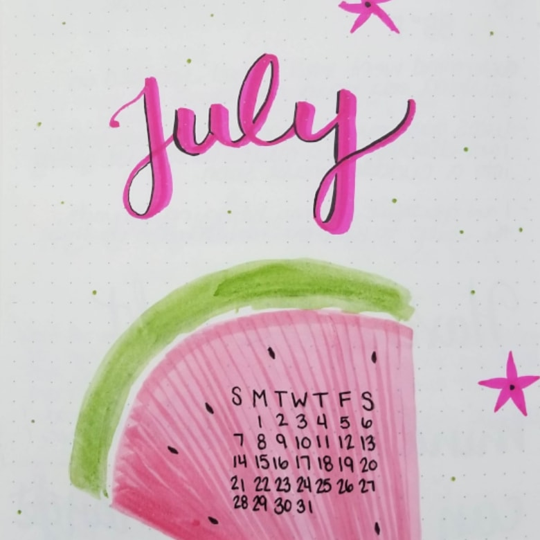 July 2019 Bullet Journal Watermelon Theme Layout - Bullet Journal Watermelon Theme Cover Page