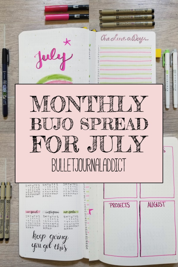 Monthly BuJo Spread For July