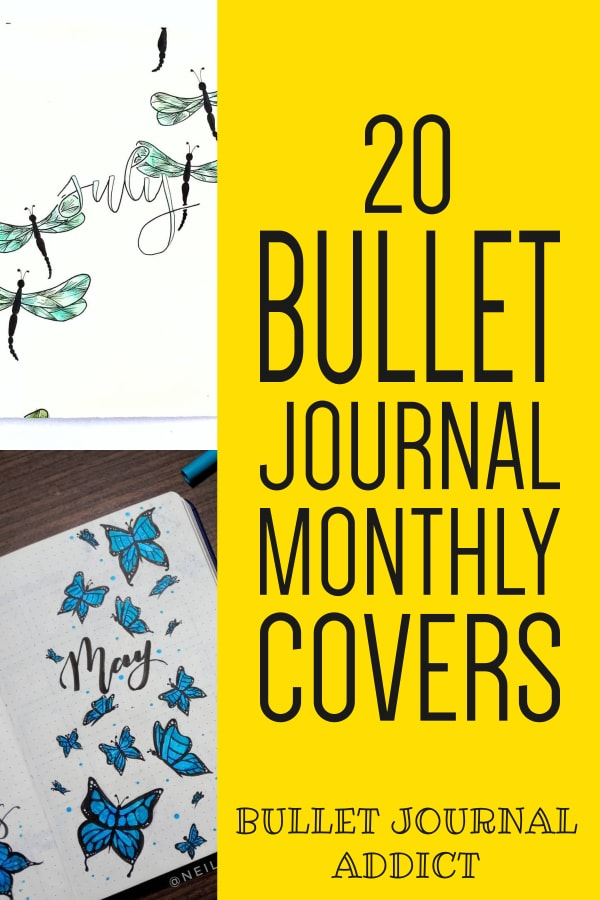 20 Bullet Journal Monthly Covers