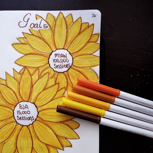 September Bullet Journal Setup - Sunflowers Goals Page