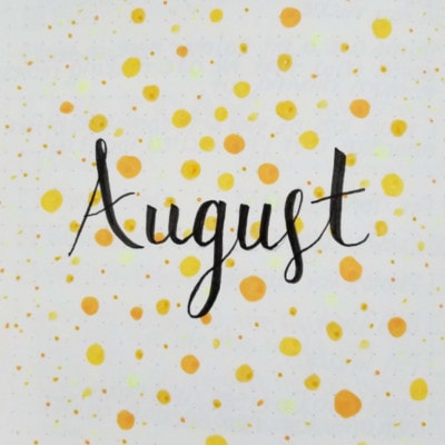 August 2019 Yellow Dot Cover Page - August 2019 Bullet Journal Layout