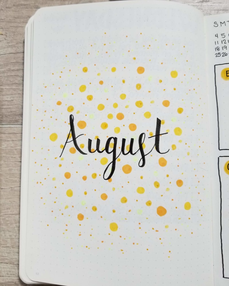 August Bullet Journal Cover Page - Yellow Dots