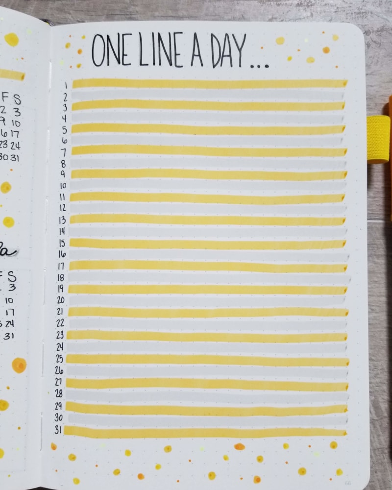 August Bullet Journal Gratitude Spread - One Line A Day