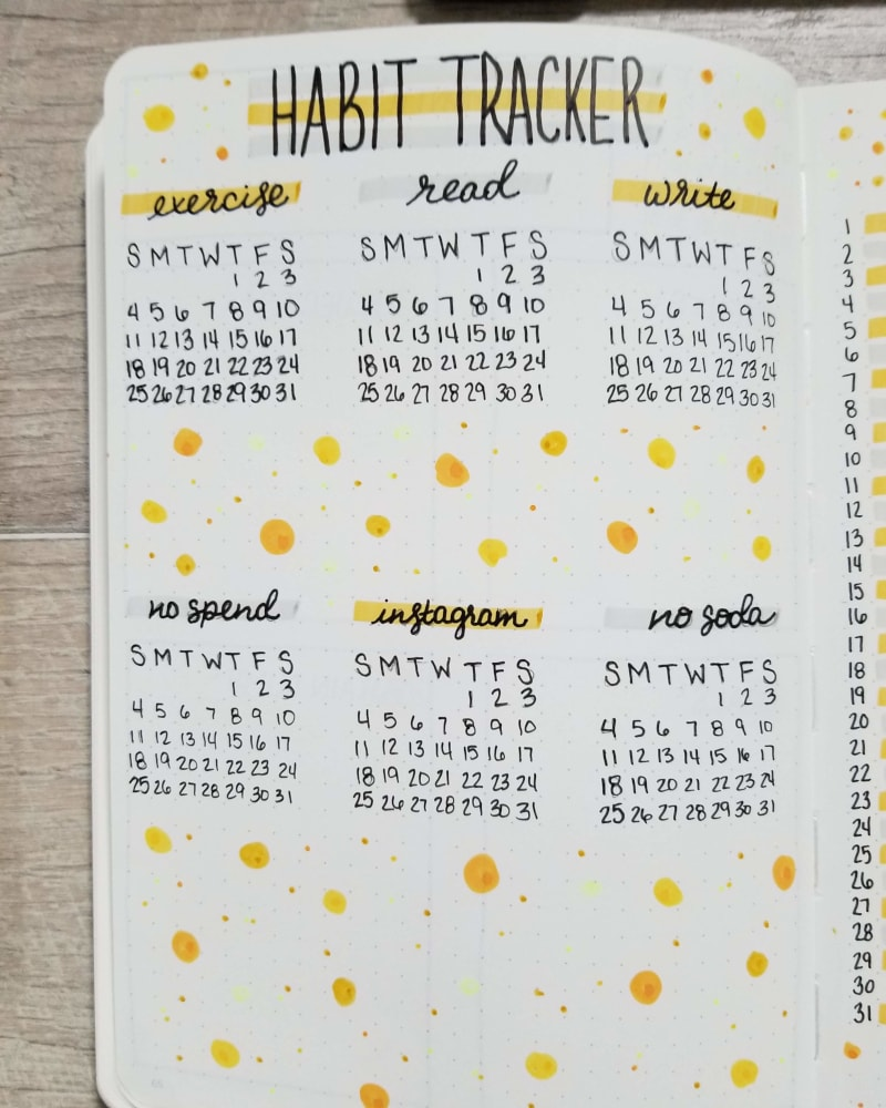 August Bullet Journal Habit Tracker Spread - Yellow Dots
